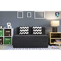 Uberlyfe Two Seater Sofa Cum Bed - Perfect for Guests - Jute Fabric Washable Cover with 2 Cushion(Zigzag Pattern) - Dark Grey| 4' X 6' Feet(SCB-001732-BK_Zigzag)