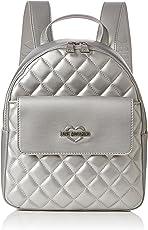Love Moschino Damen Borsa Quilted Metallic Pu Argento Rucksackhandtasche, silber (Silver), 11 x 28 x 26 cm