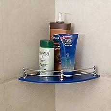 Klaxon Glass Bathroom Corner Glass Shelf (Blue)