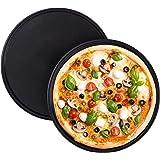 Relaxdays Pizzaplaat, set van 2, rond, antiaanbaklaag, pizza & flambée, koolstofstaal, pizzavorm,? 32 cm, grijs, 10025633