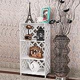 SS Arts Engineered Wood 3 Tier Multi Purpose Standing Storage Organizer Shelf Rack/Bookshelf (White)