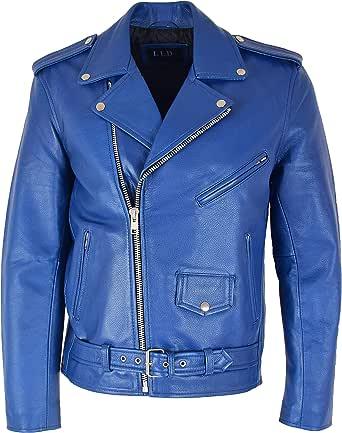 Mens Leather Biker Brando Jacket Popular Zip Up Slim Fit Style Kyle Blue