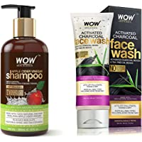 WOW Apple Cider Vinegar No Parabens & Sulphate Shampoo, 300mL And WOW Activated Charcoal infused with Activated Charcoal…