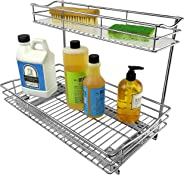 Lynk Professional Sink Cabinet Organizer with Pull Out Two Tier Sliding Shelf 11.5w x 18d x 14h -Inch Chrome