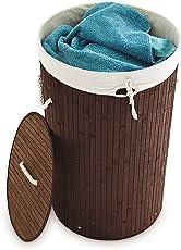 Relaxdays Wäschekorb Bambus rund Ø 41 cm, Faltbare Wäschetruhe, Volumen 80 Liter, Wäschesack Baumwolle, Versch. Farben