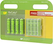 GP Batteries Recyko+ 1000 AAA İnce Kalem Ni-MH Şarjlı Pil, 1.2 Volt, 8'li Kart, Yeşil/Siyah