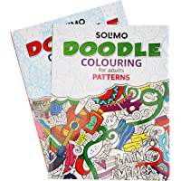 Amazon Brand - Solimo Doodle Colouring Books for Adults (Set of 2)
