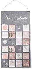 HEITMANN DECO Stoff-Adventskalender Merry Christmas - moderner Adventskalender zum Befüllen und Aufhängen - grau rosa weiß