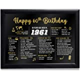 Sass Party & Gifts Framed Happy 30th 40th 50th 60th Birthday Decoration Gift for Women or Men (1961-60th Birthday)