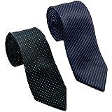 Ollera Men Premium Neck Tie Combo (Black, Navy Blue Stripe; Free Size) (Pack of 2)