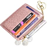 ehsbuy Slim Credit Card Holder Wallet RFID Blocking Leather Zipper Coin Purse Keychain Wallets for Women & Men(StarRosegold)