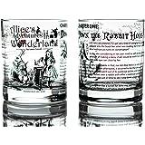 Greenline Goods Verres à Whisky - Alice au Pays des Merveilles (Ensemble de 2)  Littérature Rocks Glass avec Lewis Carroll B
