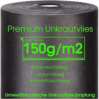 Rei/ßfestes Unkrautvlies in Profiqualit/ät mit hoher UV-Stabilisierung 40m x 1,6m = 64m/² Grammatur 150g//m/²