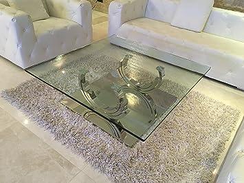 Designer Couchtisch Edelstahl Wohnzimmertisch Glastisch Glas Hochglanz 100cm X 42cm Amazonde Kche Haushalt