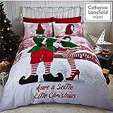 """Catherine Lansfield Parure copripiumino natalizia, motivo: """"Selfie Elfie"""", multicolore, Multi, 27 x 3 x 38 cm"""