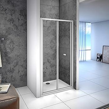 Aica 800mm Bifold Shower Enclosure Toughened Glass Door Panel 80 x 2.6 x 185 cm Metal Electrophoretic White