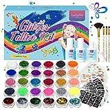 Luckyfine Glittertattooset voor kinderen, met 30 glittertubes en 200 sjablonen en 4 borstels en 3 lijmen, feesttatoeages, ver