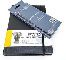 Brustro Stitched Bound A5 Artists' Sketch Book and Cretacolor Artist Studio Line Graphite Pencil Set of 12 Combo