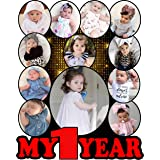 Shri Kanth Art® Customized Wooden Baby Photo Frames for Gift and Home Decor (SquareFrame with 12 Photos)