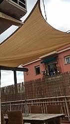 LOVE STORY Toldo Vela de Sombra(HDPE) Triangular 5×5×5m Arena Protección UV para Terraza Camping Jardín al Aire Libre