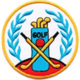 Golf Crest Iron on Patch Sew on Embroidered Badge applied Applique Patches (Iron or Sewing On)