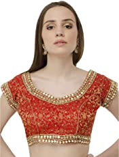 Naira Coutur Mirror Work Red Latest Designer Partywear Dupian Silk Readymade Padded Saree Blouse For Women …