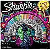 Sharpie pochette marqueurs permanents, assortiment de couleurs exclusives, pointes fines et ultra-fines, lot de28