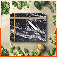 Chefworks by Bathla - Amara Marble Chopping / Cutting Board with Premium Finish, Exquisite Brass Inlay & Anti-Slip Pads…