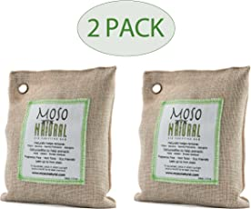 Pack of Two (2) Moso Natural Air Purifying Bag 200g Naturally Removes Odors, Allergens and Harmful Pollutants. Fragrance Free, Chemical Free and Non Toxic. Reuse for up to Two Years.