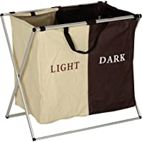 Haneez Laundry Bag, Foldable, 2 Section Laundary Basket for Light and Dark Clothes, Large
