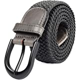 Braided Stretch Elastic Belt Pin Oval Solid Black Buckle Leather Loop End Tip Men/Women/Junior (7 Sizes 27 Colors )