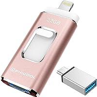 PHICOOL Clé USB 3.0 32Go Compatible pour iPhone Flash Drive avec Connecteur Extension de Stockage Mémoire Stick pour iOS OTG Andriod Appareils et Mac PC Ordinateur - Rose