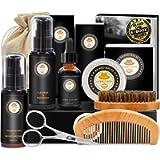 Upgraded Beard Grooming Kit w/Beard Conditioner,Beard Oil,Beard Balm,Beard Brush,Beard Shampoo/Wash,Beard Comb,Beard…