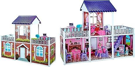 Toyshine Fashion Villa Doll House Creative Edition, Accessories Included, 2 Dolls