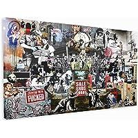 M2M Prints Impression sur toile collage Banksy (50,8 x 30,5 cm)
