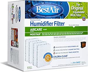 BestAir ES12, KenmoreEmerson Replacement, Paper Wick Humidifier Filter (4 Filters), 10