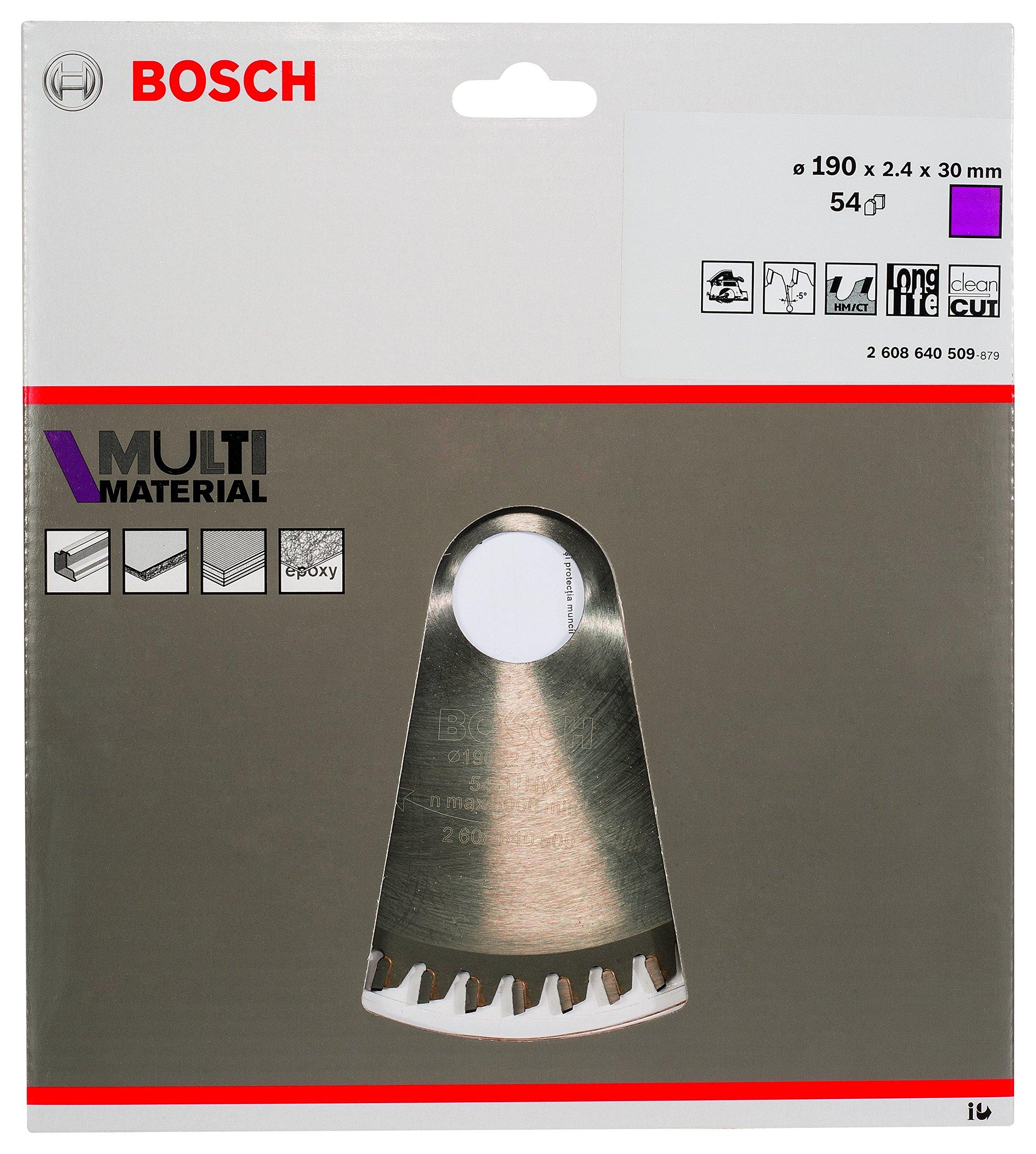 Bosch 2 608 640 509 – Hoja de sierra circular Multi Material – 190 x 30 x 2,4 mm, 54 (pack de 1)
