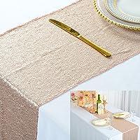 ShinyBeauty Chemin de Table à Paillettes Or Rose pour Mariage/décoration d'évènements 30 x 180cm (Champagne, 1)