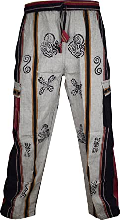 Gheri Men's Straight Loose Cotton Patch Casual Lounge Nepalese Trousers