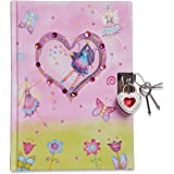 Lucy Locket - Diario Infantil con «Hadas» de Color Rosa Brillante - Diario con candado y Llaves