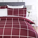 AmazonBasics - Set copripiumino in microfibra, 230 x 220 cm, Motivo a scacchi bordeaux (Burgundy Simple Plaid)