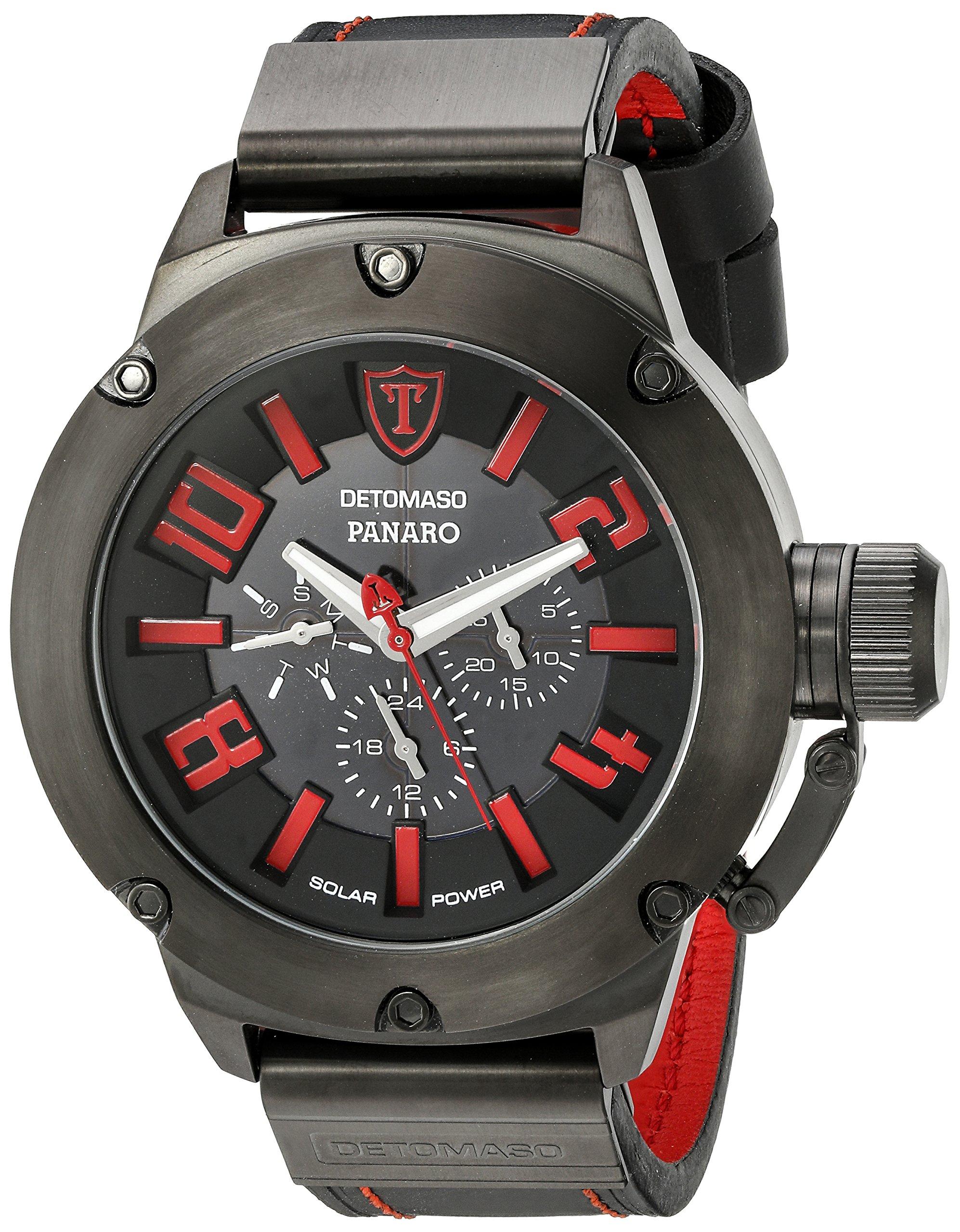Detomaso Panaro XXL Solar – Reloj de cuarzo para hombres, con correa de cuero de color negro, esfera negro