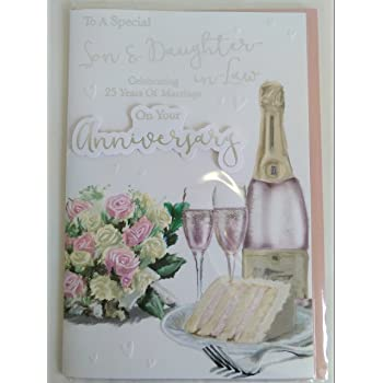Greeting Cards Office Paper Products for A Special Daughter & Son-in-Law On Your 25th Anniversary Card Silver Wedding Anniversary White/Pink Champagne Glitter/Ribbon/Foil Detail