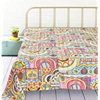 HANDICRAFT-PALACE Floral Patch Design Kantha Quilt Bedspread Gudari Hand Printed Cotton Bedding Quilt for Double (Multi Color)