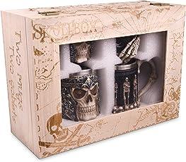 Skullbox Luxus Geschenkpackung 2 Becher + 2 Kelche - Ganzjähriges Unorthodoxes Geschenk für Sie und Ihn - Großartig für Paare, verheiratete Paare, Eltern, Freunde - Totenkopf Becher und Kelche (Edelstahl)