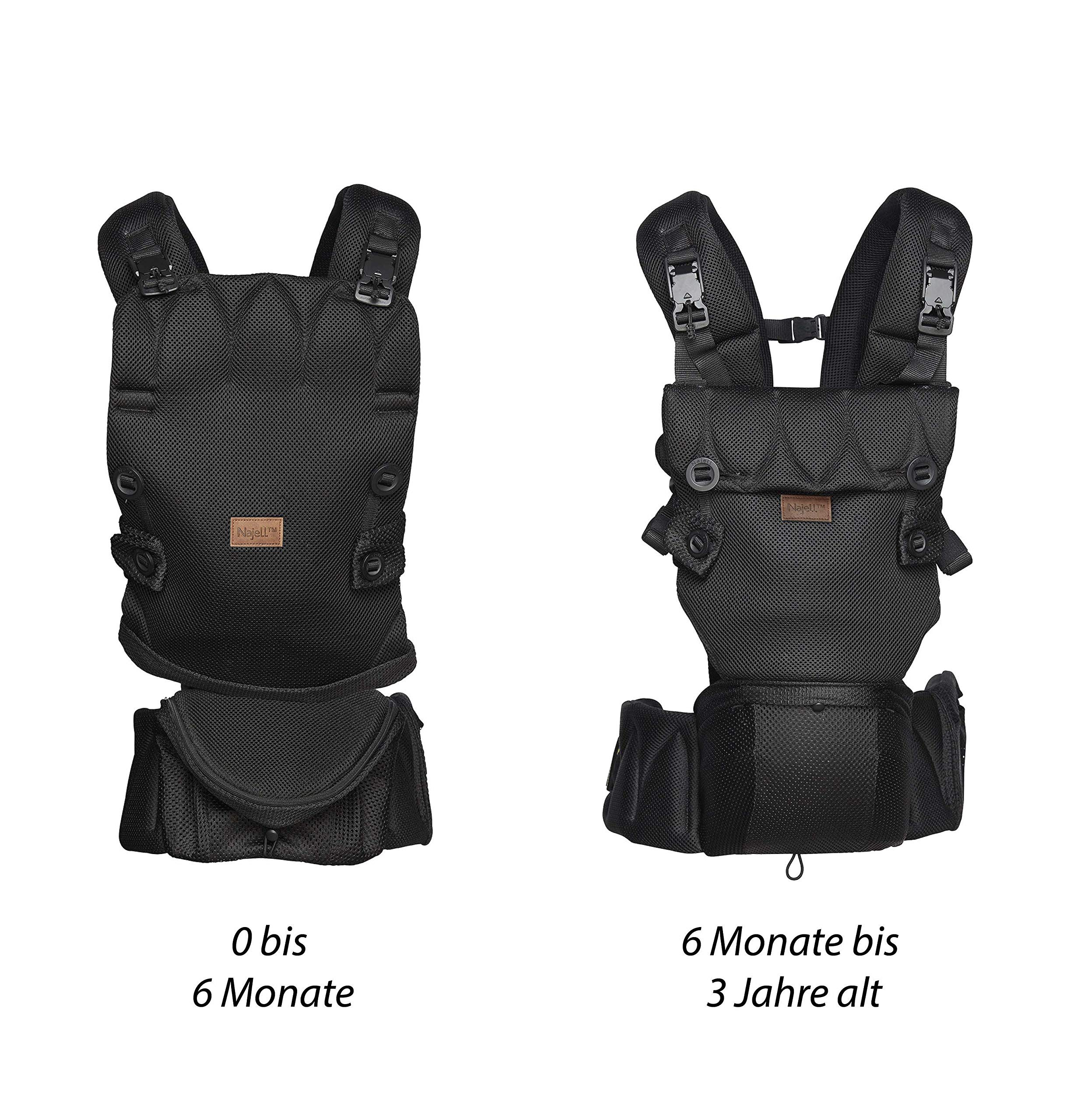 Najell Omni Active Mesh Baby Carrier with Hip Seat, Brilliant Black Béaba New-born ergonomic position and hips seat from 6 months. Market leading weight distribution with hip seat, recommended by the international hip dysplasia institute as a hip-healthy baby carrier Weight: 3, 5 to 15 kg and age: new-born to 3 years. 9