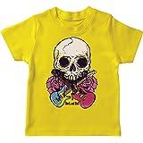 lepni.me Camiseta para Niños Guitarras, Calavera, Rosas - Amantes del Concierto de Rock & Roll