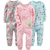 Simple Joys by Carter's 3-Pack Snug Fit Footless Cotton Pajamas Bebé-Niñas