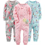 Simple Joys by Carter's Baby Girl's Footless Cotton Zipped Long Sleeve Sleepsuit, Pack of 3