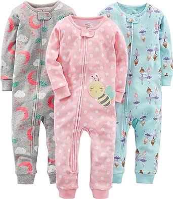 Simple Joys by Carter's 3-Pack Snug Fit Footless Cotton Pajamas Bébé Fille